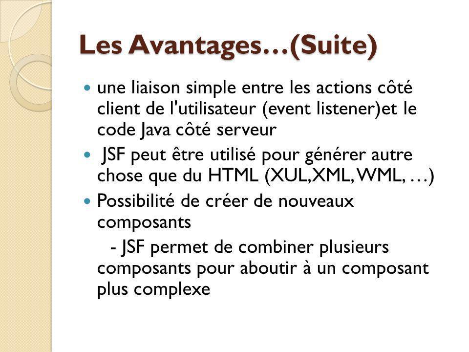 Les Avantages…(Suite) une liaison simple entre les actions côté client de l utilisateur (event listener)et le code Java côté serveur JSF peut être utilisé pour générer autre chose que du HTML (XUL,XML, WML, …) Possibilité de créer de nouveaux composants - JSF permet de combiner plusieurs composants pour aboutir à un composant plus complexe