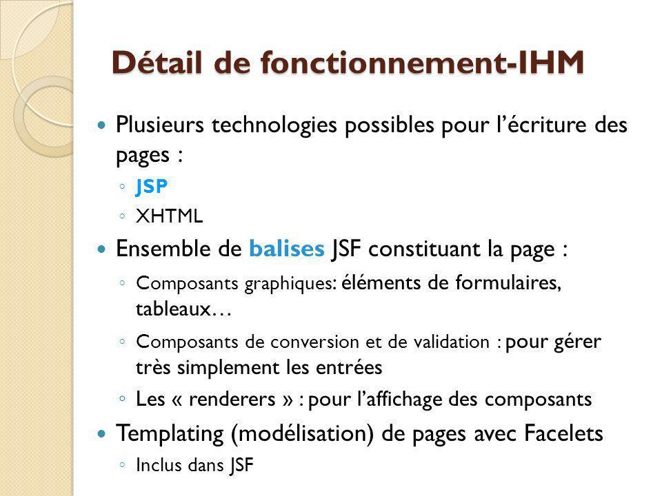 Détail de fonctionnement-IHM Plusieurs technologies possibles pour lécriture des pages : JSP XHTML Ensemble de balises JSF constituant la page : Composants graphiques : éléments de formulaires, tableaux… Composants de conversion et de validation : pour gérer très simplement les entrées Les « renderers » : pour laffichage des composants Templating (modélisation) de pages avec Facelets Inclus dans JSF