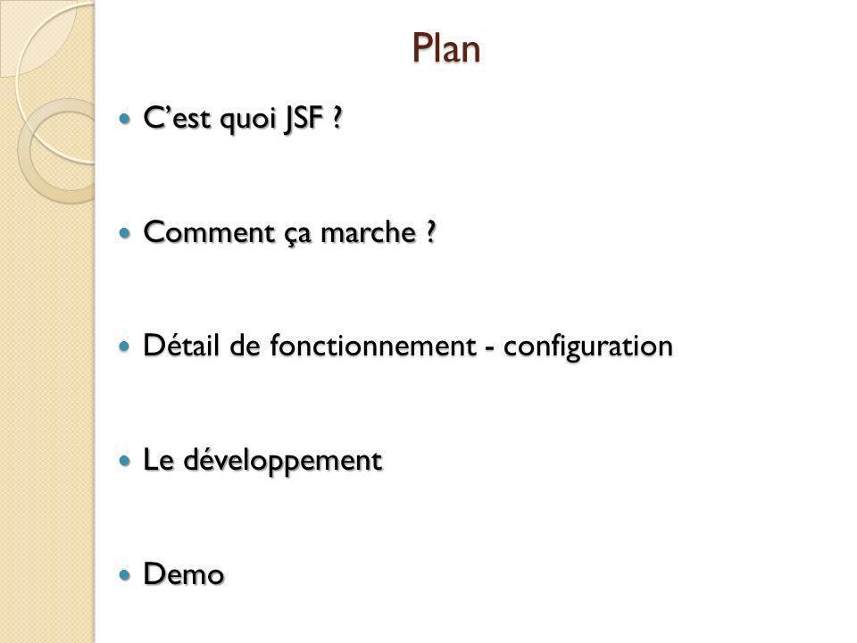Plan Cest quoi JSF .Cest quoi JSF . Comment ça marche .