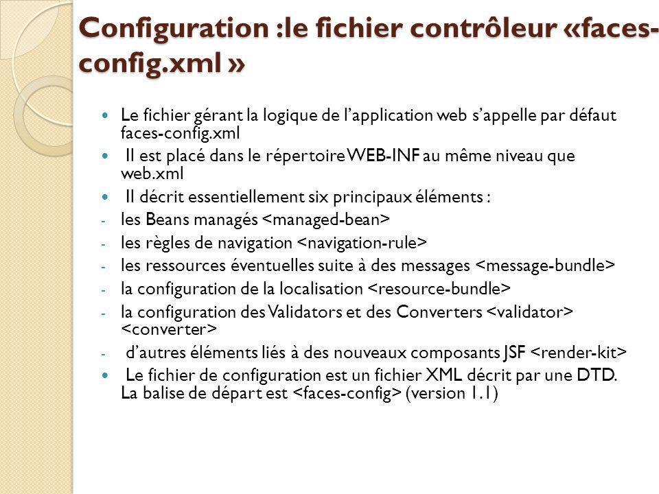 Configuration :le fichier contrôleur «faces- config.xml » Le fichier gérant la logique de lapplication web sappelle par défaut faces-config.xml Il est placé dans le répertoire WEB-INF au même niveau que web.xml Il décrit essentiellement six principaux éléments : - les Beans managés - les règles de navigation - les ressources éventuelles suite à des messages - la configuration de la localisation - la configuration des Validators et des Converters - dautres éléments liés à des nouveaux composants JSF Le fichier de configuration est un fichier XML décrit par une DTD.