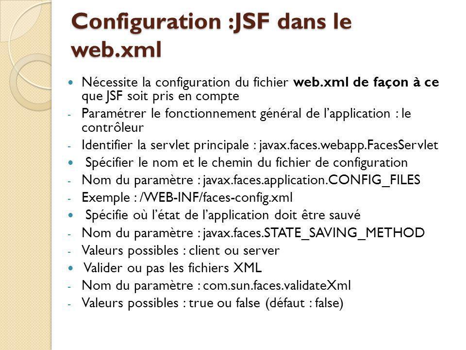 Configuration :JSF dans le web.xml Nécessite la configuration du fichier web.xml de façon à ce que JSF soit pris en compte - Paramétrer le fonctionnement général de lapplication : le contrôleur - Identifier la servlet principale : javax.faces.webapp.FacesServlet Spécifier le nom et le chemin du fichier de configuration - Nom du paramètre : javax.faces.application.CONFIG_FILES - Exemple : /WEB-INF/faces-config.xml Spécifie où létat de lapplication doit être sauvé - Nom du paramètre : javax.faces.STATE_SAVING_METHOD - Valeurs possibles : client ou server Valider ou pas les fichiers XML - Nom du paramètre : com.sun.faces.validateXml - Valeurs possibles : true ou false (défaut : false)