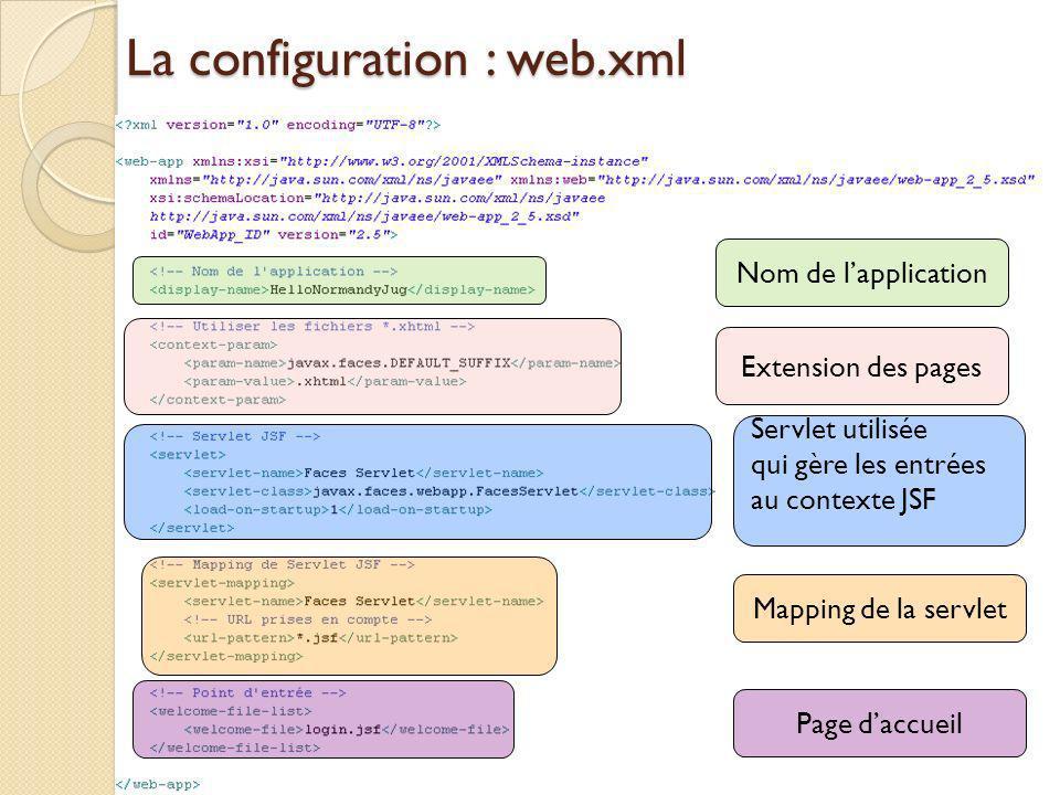 La configuration : web.xml Nom de lapplication Mapping de la servlet Page daccueil Servlet utilisée qui gère les entrées au contexte JSF Extension des pages