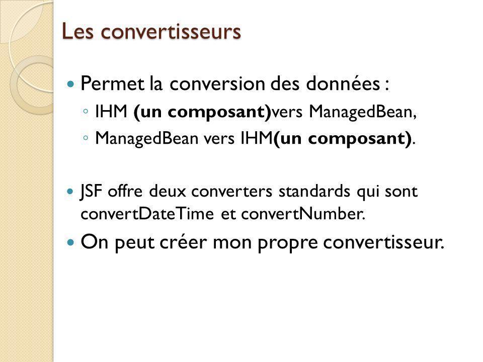Les convertisseurs Permet la conversion des données : IHM (un composant)vers ManagedBean, ManagedBean vers IHM(un composant).