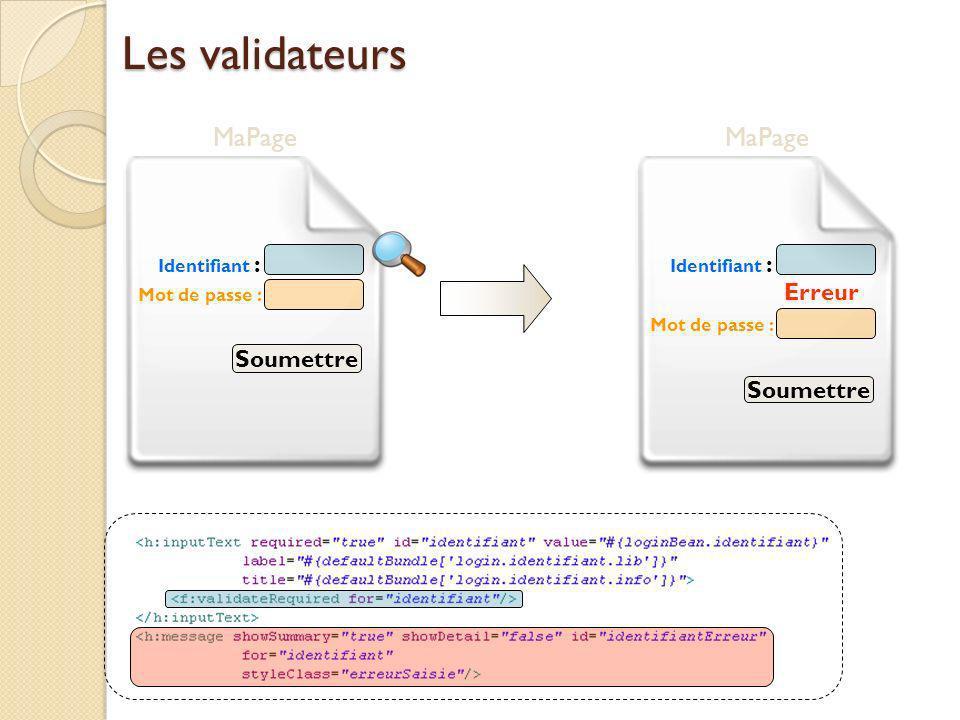 Les validateurs MaPage Mot de passe : Identifiant : Soumettre MaPage Mot de passe : Identifiant : Soumettre Erreur