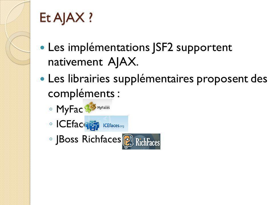 Et AJAX .Les implémentations JSF2 supportent nativement AJAX.