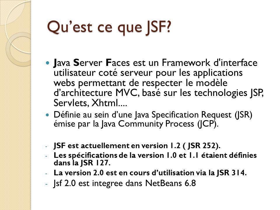 Java Server Faces est un Framework d interface utilisateur coté serveur pour les applications webs permettant de respecter le modèle darchitecture MVC, basé sur les technologies JSP, Servlets, Xhtml....