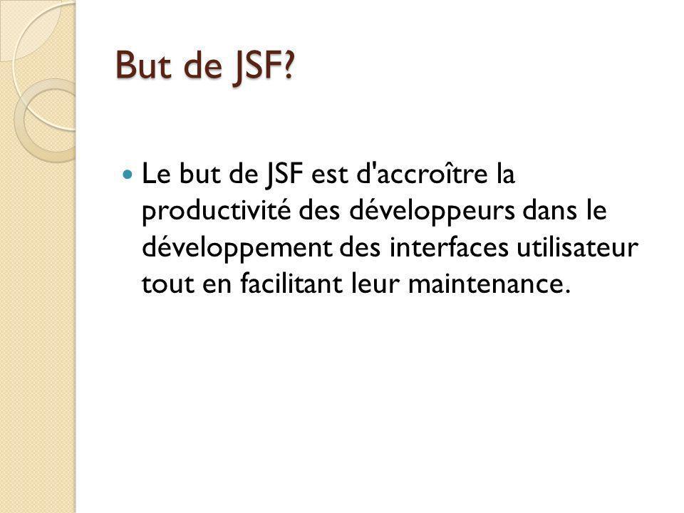 Le but de JSF est d accroître la productivité des développeurs dans le développement des interfaces utilisateur tout en facilitant leur maintenance.