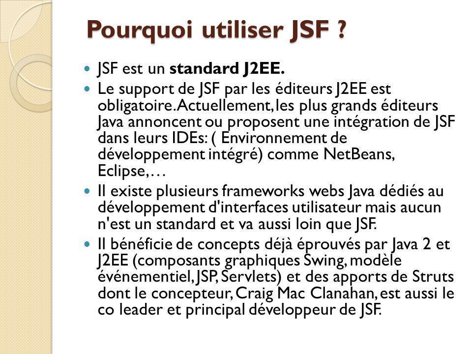 Pourquoi utiliser JSF .Pourquoi utiliser JSF . JSF est un standard J2EE.