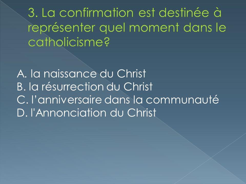 A. la naissance du Christ B. la résurrection du Christ C. lanniversaire dans la communauté D. l'Annonciation du Christ