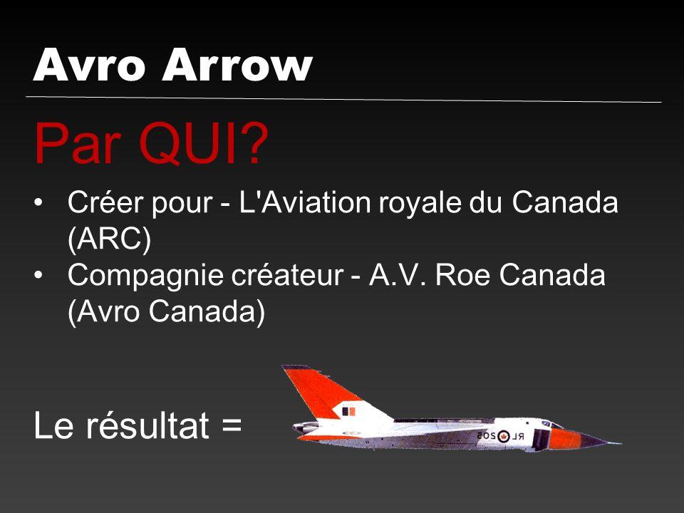 Avro Arrow Par QUI? Créer pour - L'Aviation royale du Canada (ARC) Compagnie créateur - A.V. Roe Canada (Avro Canada) Le résultat =
