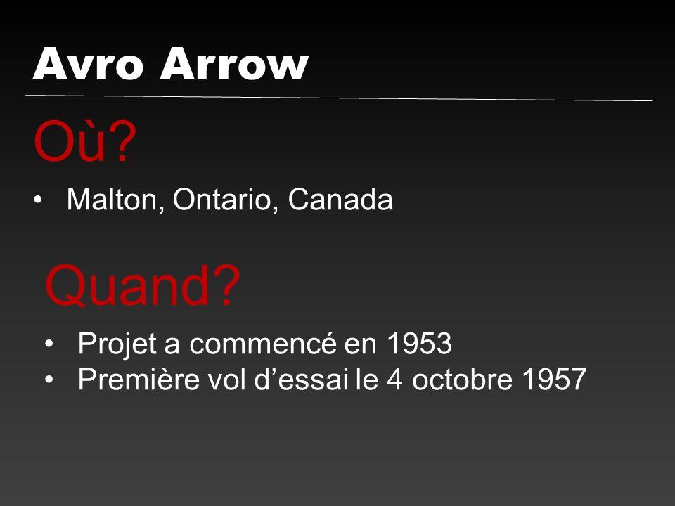 Avro Arrow Où? Malton, Ontario, Canada Quand? Projet a commencé en 1953 Première vol dessai le 4 octobre 1957
