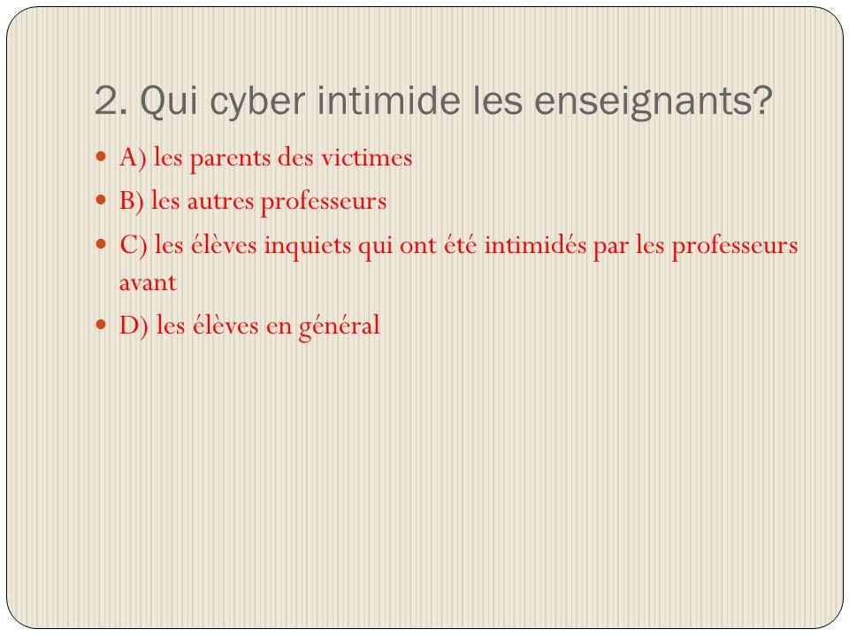 2. Qui cyber intimide les enseignants.