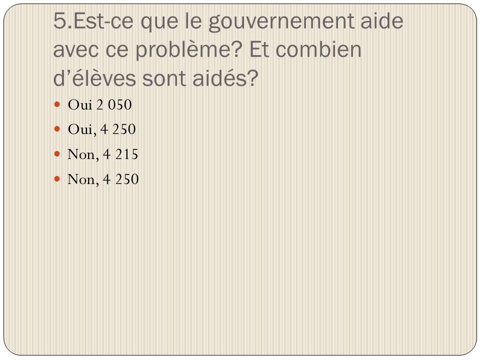 5.Est-ce que le gouvernement aide avec ce problème.