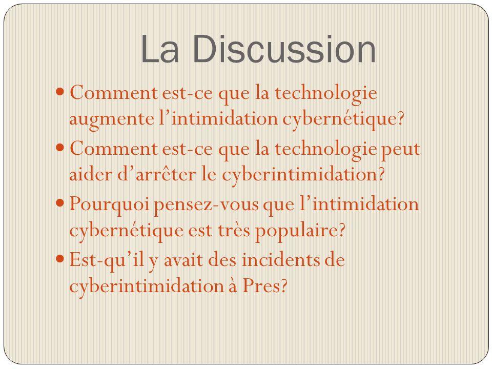 La Discussion Comment est-ce que la technologie augmente lintimidation cybernétique.
