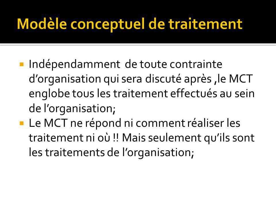 Indépendamment de toute contrainte dorganisation qui sera discuté après,le MCT englobe tous les traitement effectués au sein de lorganisation; Le MCT ne répond ni comment réaliser les traitement ni où !.
