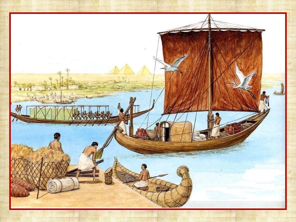 Tout le long du Nil se trouvent des ports car le commerce et lartisanat se sont bien développés. Les commerçants égyptiens traversent la mer Rouge ou