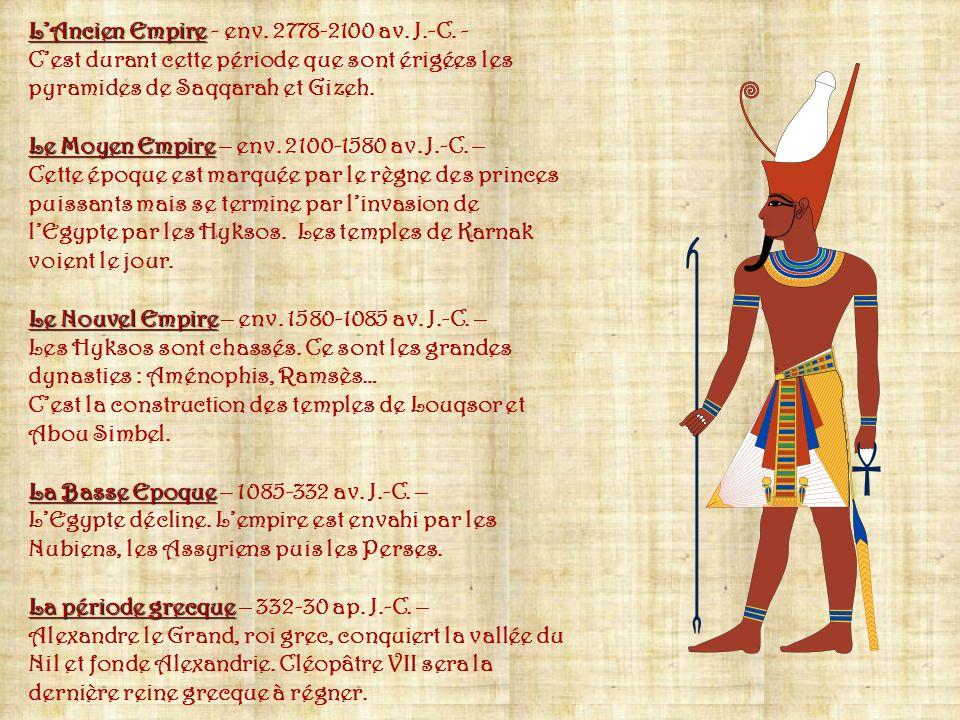 Informations prises sur le Net et dans « lEgypte ancienne des Editions Fleurus.