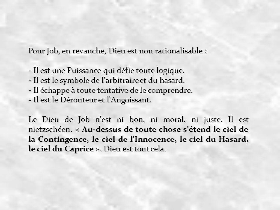 Pour Job, en revanche, Dieu est non rationalisable : - Il est une Puissance qui défie toute logique. - Il est le symbole de l'arbitraire et du hasard.