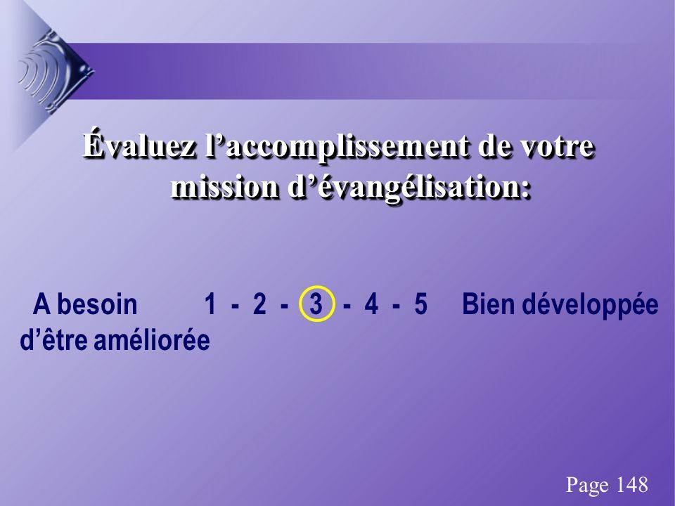 Évaluez laccomplissement de votre mission dévangélisation: A besoin 1 - 2 - 3 - 4 - 5 Bien développée dêtre améliorée Page 148