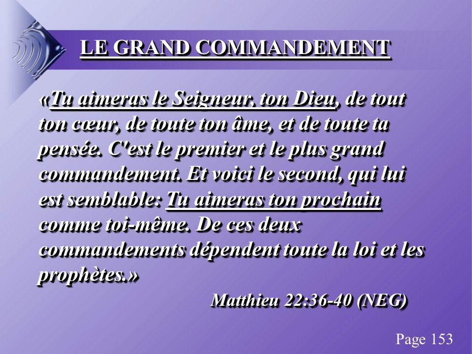 LE GRAND COMMANDEMENT «Tu aimeras le Seigneur, ton Dieu, de tout ton cœur, de toute ton âme, et de toute ta pensée.