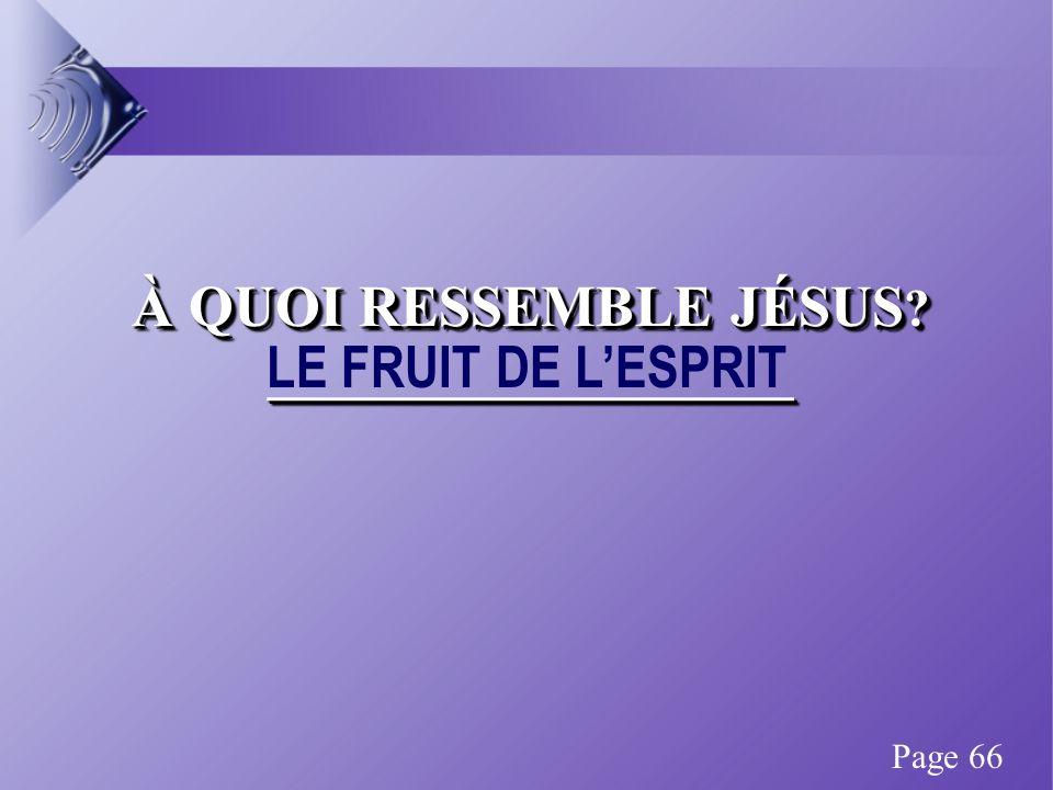 À QUOI RESSEMBLE JÉSUS ? ____________________ LE FRUIT DE LESPRIT Page 66