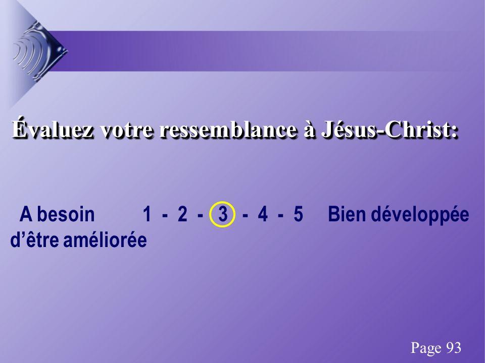 Évaluez votre ressemblance à Jésus-Christ: A besoin 1 - 2 - 3 - 4 - 5 Bien développée dêtre améliorée Page 93