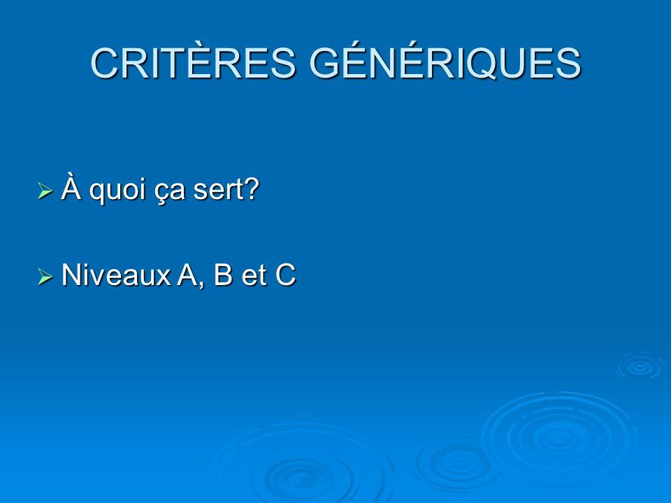 CRITÈRES GÉNÉRIQUES À quoi ça sert? À quoi ça sert? Niveaux A, B et C Niveaux A, B et C