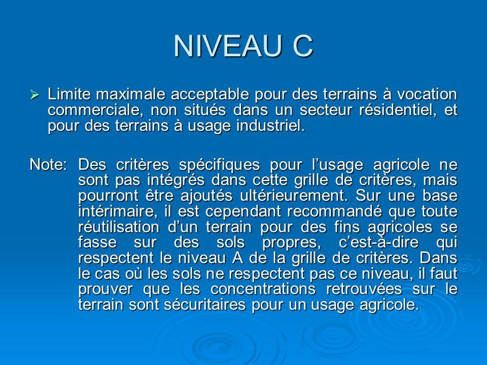 NIVEAU C Limite maximale acceptable pour des terrains à vocation commerciale, non situés dans un secteur résidentiel, et pour des terrains à usage ind