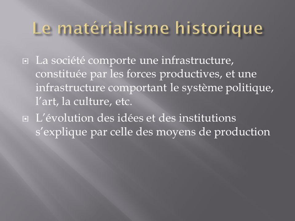La société comporte une infrastructure, constituée par les forces productives, et une infrastructure comportant le système politique, lart, la culture, etc.