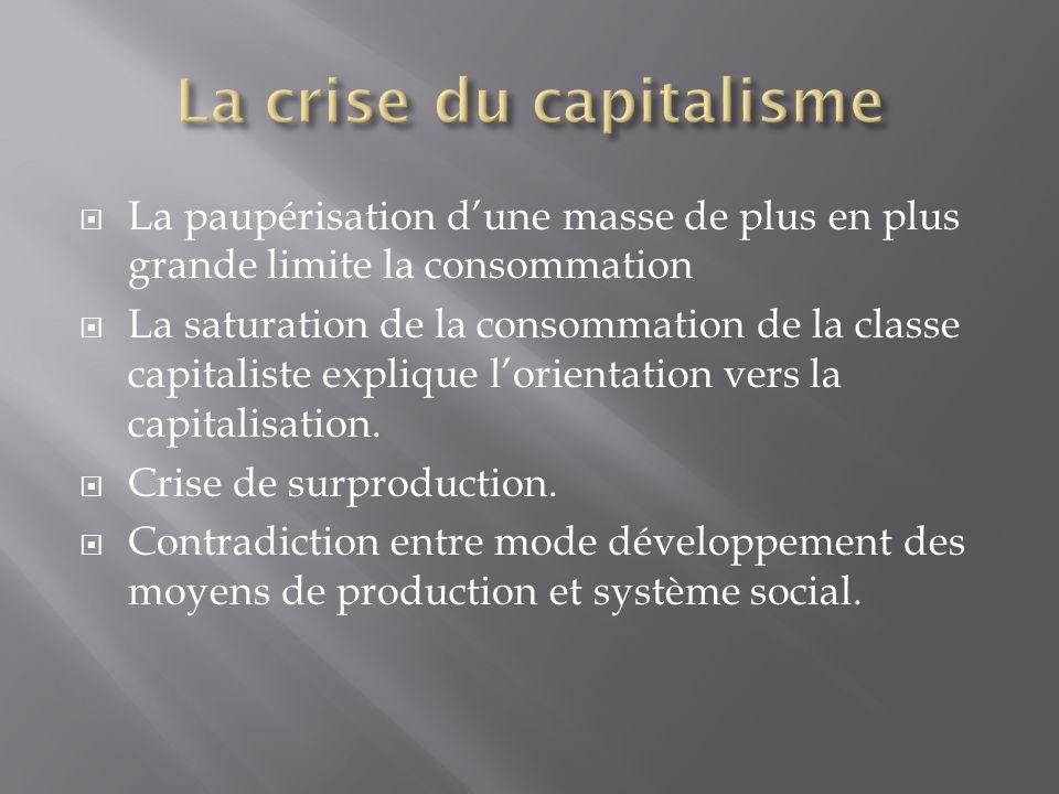 La paupérisation dune masse de plus en plus grande limite la consommation La saturation de la consommation de la classe capitaliste explique lorientation vers la capitalisation.