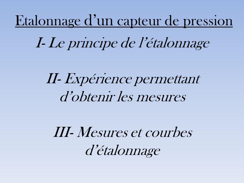 Etalonnage dun capteur de pression I- Le principe de létalonnage II- Expérience permettant dobtenir les mesures III- Mesures et courbes détalonnage
