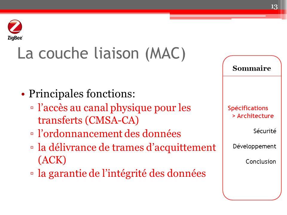 La couche liaison (MAC) Principales fonctions: laccès au canal physique pour les transferts (CMSA-CA) lordonnancement des données la délivrance de tra