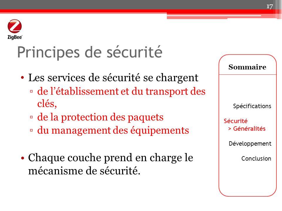 Principes de sécurité Les services de sécurité se chargent de létablissement et du transport des clés, de la protection des paquets du management des