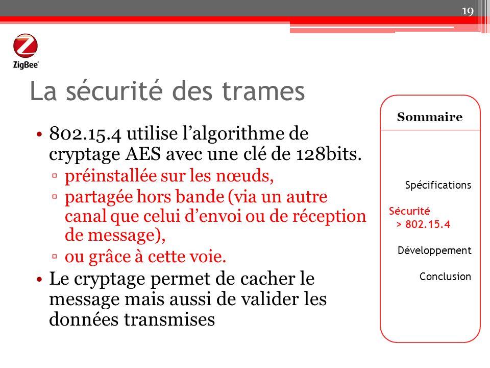 La sécurité des trames 802.15.4 utilise lalgorithme de cryptage AES avec une clé de 128bits. préinstallée sur les nœuds, partagée hors bande (via un a
