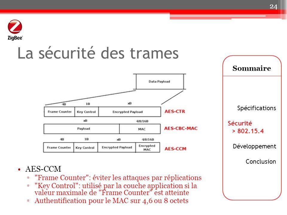 La sécurité des trames Sommaire Spécifications Sécurité > 802.15.4 Développement Conclusion 24 AES-CCM