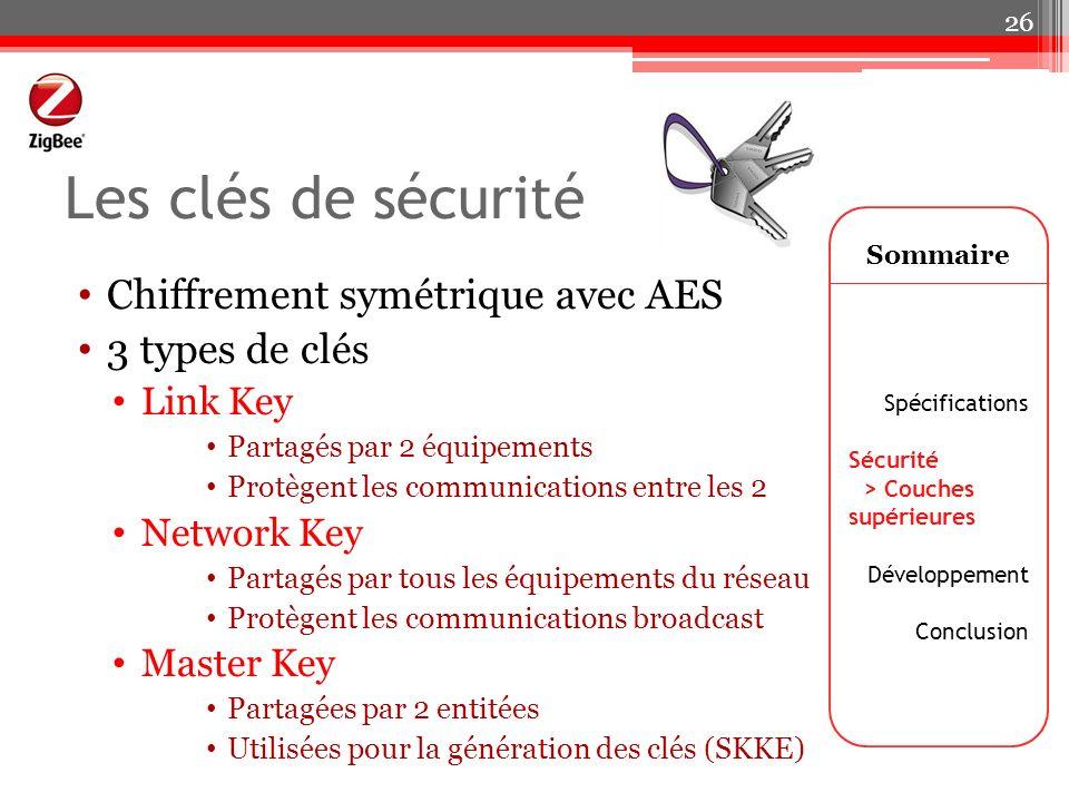 Les clés de sécurité Chiffrement symétrique avec AES 3 types de clés Link Key Partagés par 2 équipements Protègent les communications entre les 2 Netw