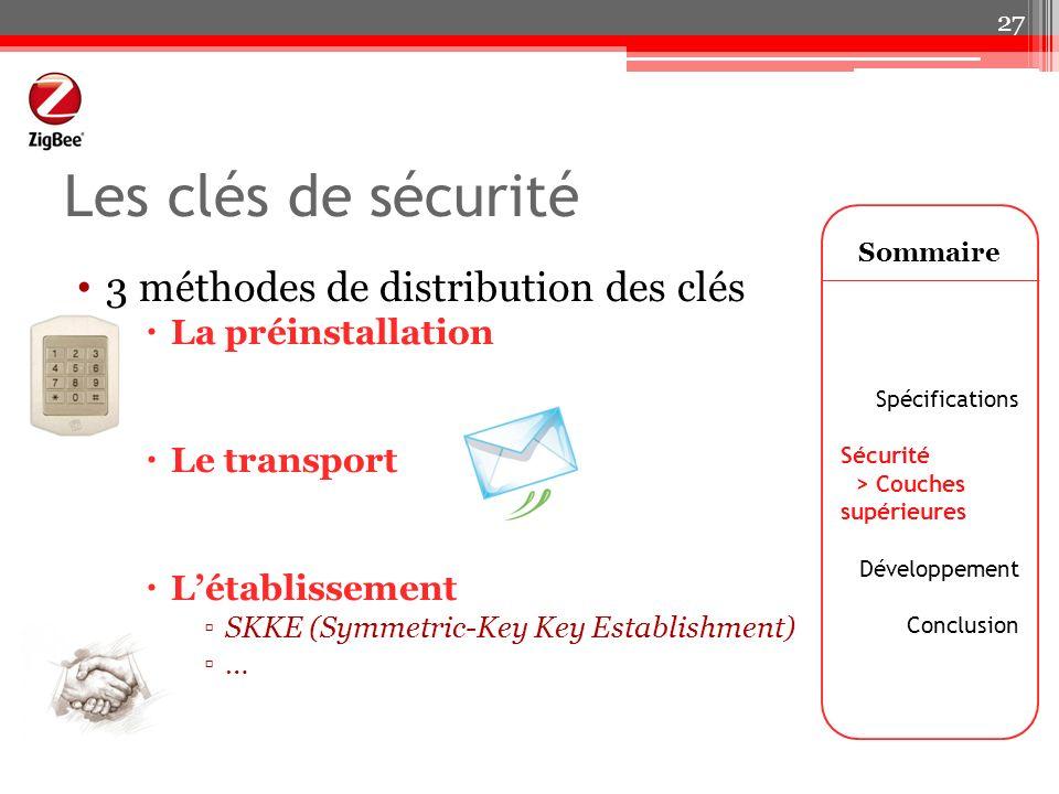 Les clés de sécurité 3 méthodes de distribution des clés La préinstallation Le transport Létablissement SKKE (Symmetric-Key Key Establishment) … Somma