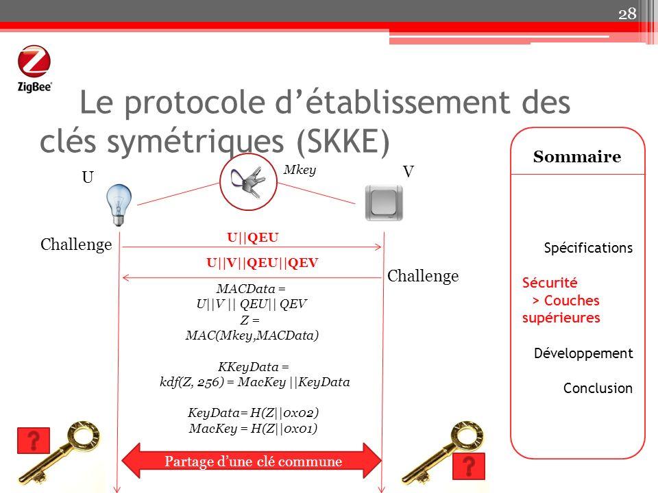 Le protocole détablissement des clés symétriques (SKKE) Sommaire Spécifications Sécurité > Couches supérieures Développement Conclusion 28 Challenge U
