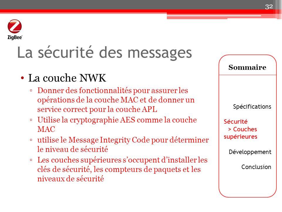 La sécurité des messages La couche NWK Donner des fonctionnalités pour assurer les opérations de la couche MAC et de donner un service correct pour la