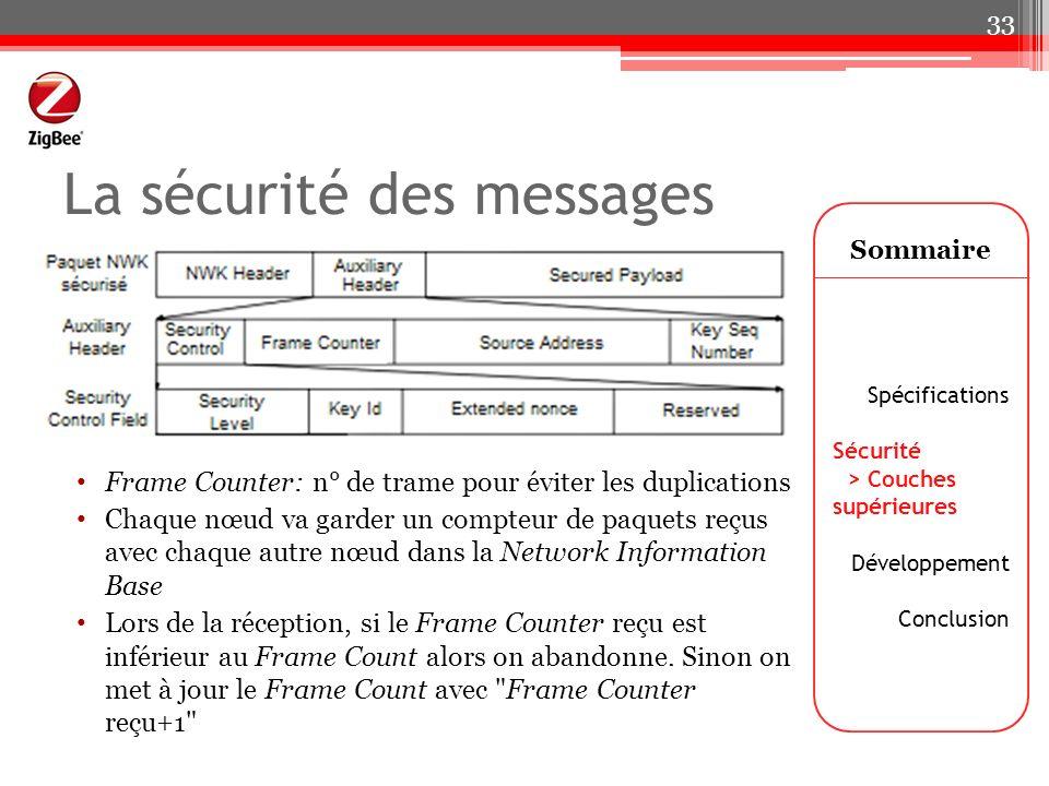 La sécurité des messages Frame Counter: n° de trame pour éviter les duplications Chaque nœud va garder un compteur de paquets reçus avec chaque autre