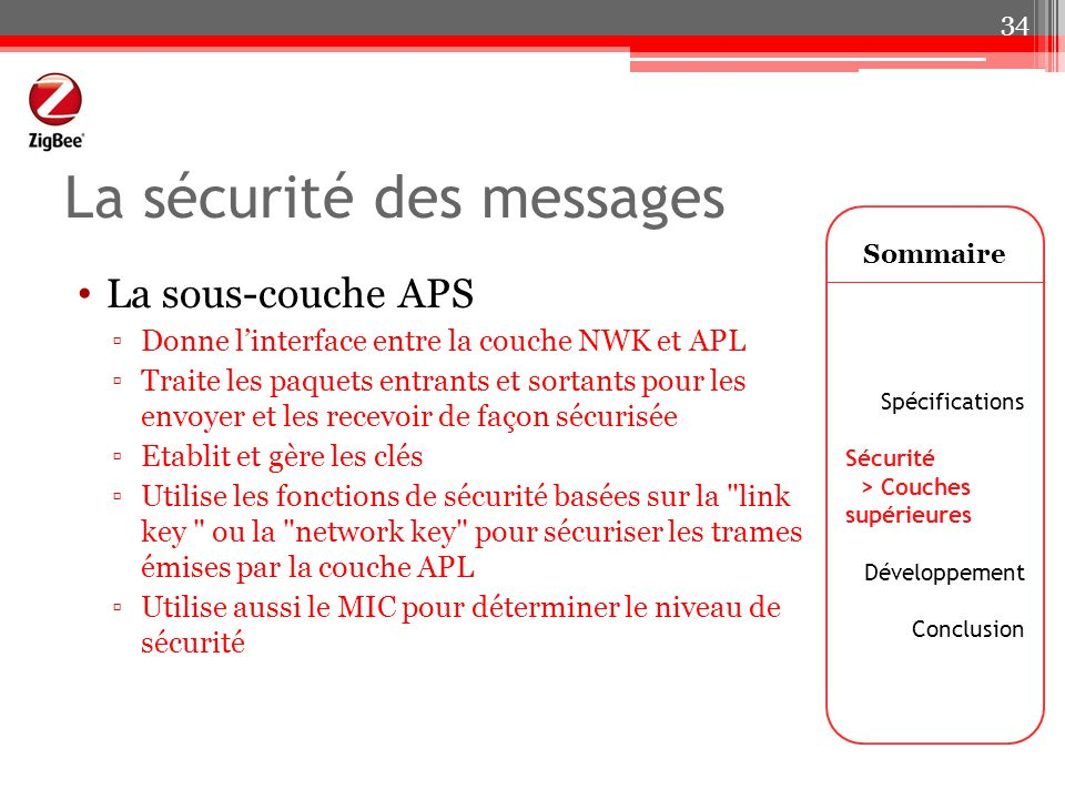 La sécurité des messages Sommaire Spécifications Sécurité > Couches supérieures Développement Conclusion 34 La sous-couche APS Donne linterface entre