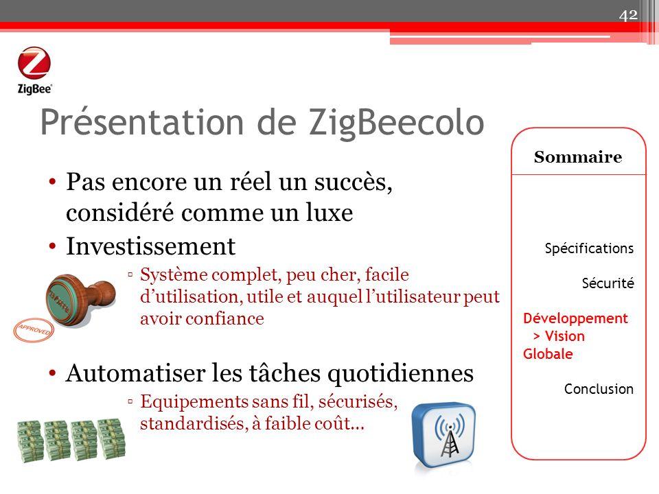 Présentation de ZigBeecolo Pas encore un réel un succès, considéré comme un luxe Investissement Système complet, peu cher, facile dutilisation, utile