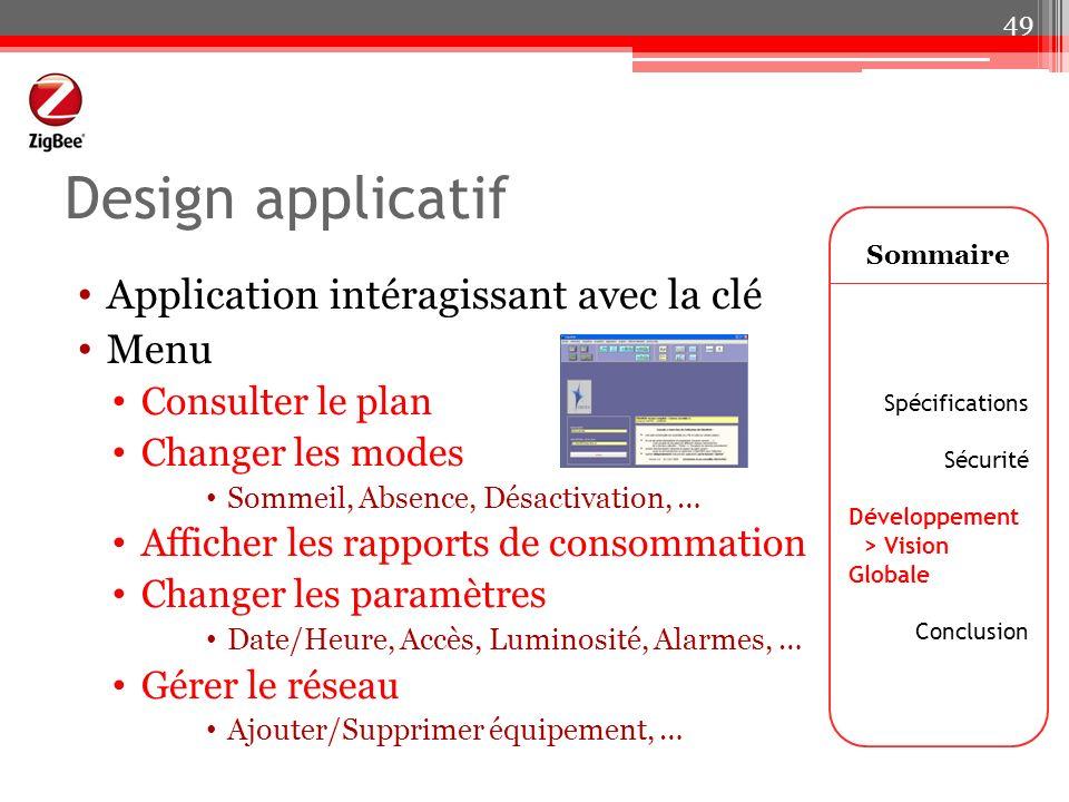 Design applicatif Application intéragissant avec la clé Menu Consulter le plan Changer les modes Sommeil, Absence, Désactivation, … Afficher les rappo