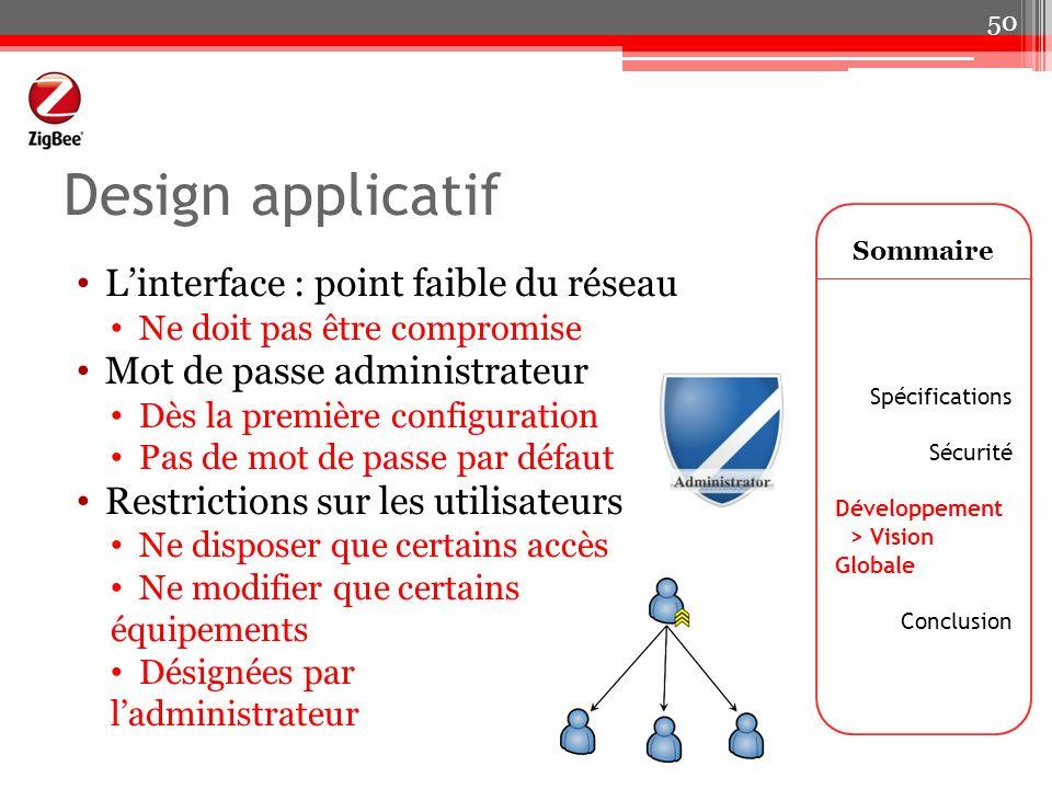 Design applicatif Linterface : point faible du réseau Ne doit pas être compromise Mot de passe administrateur Dès la première configuration Pas de mot
