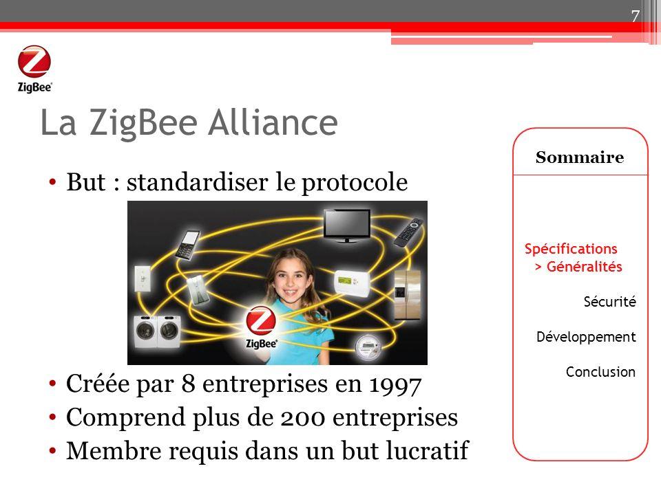 La ZigBee Alliance But : standardiser le protocole Créée par 8 entreprises en 1997 Comprend plus de 200 entreprises Membre requis dans un but lucratif