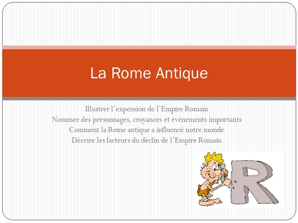 Illustrer lexpension de lEmpire Romain Nommer des personnages, croyances et événements importants Comment la Rome antique a influencé notre monde Décr
