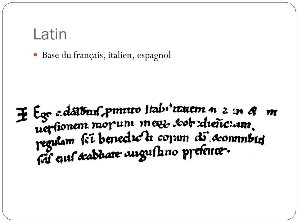 Latin Base du français, italien, espagnol