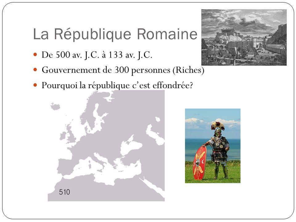 La République Romaine De 500 av. J.C. à 133 av. J.C. Gouvernement de 300 personnes (Riches) Pourquoi la république cest effondrée?