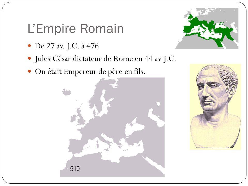 LEmpire Romain De 27 av. J.C. à 476 Jules César dictateur de Rome en 44 av J.C. On était Empereur de père en fils.