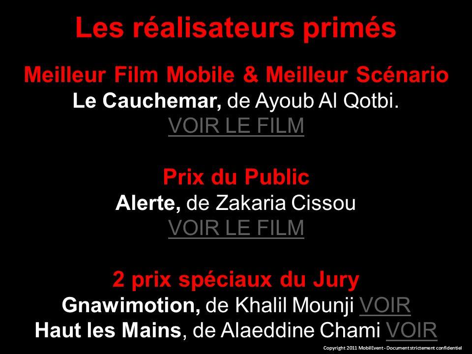 Les réalisateurs primés Meilleur Film Mobile & Meilleur Scénario Le Cauchemar, de Ayoub Al Qotbi.